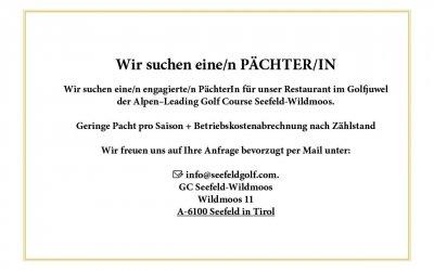 PÄCHTER/IN für Restaurant Seefeld-Wildmoos gesucht